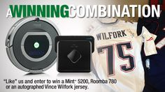 Want to win a Roomba, a Mint+ 5200, or an autographed Vince Wilfork jersey? Enter NOW! http://www.facebook.com/iRobotRoomba/app_192187780923513 #patriots #giveaway #contest