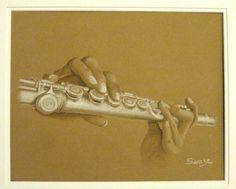 La joueuse de flute - Swaze, peintre pastelliste