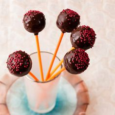 Try this delicious cherry cake pops recipe plus other recipes from Red Online. Cherry Desserts, Cherry Recipes, Cherry Cake, Valentine Special, Valentines, Sugar Sprinkles, Chocolate Lollipops, Cake Tins, Other Recipes