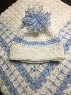 4abb15bc590 Crochet baby boy blue and white blanket w  hat