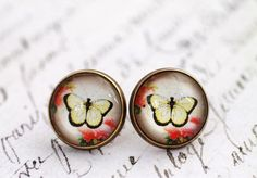 Yellow butterfly earrings, stud earrings, glass dome earrings,