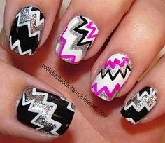 Pink, white, sliver, and black nails