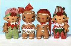 Primitive Winter Doll Pattern Christmas Gingerbread Elf Boy Girl | eBay