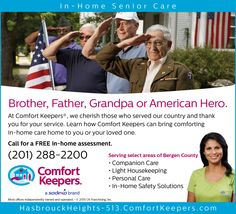 We salute our #veterans. Happy #IndependenceDay July 4th from Comfort Keepers of Montclair & Hasbrouck Heights. #VeteransCare #AVCC