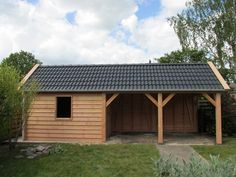 Outdoor Sheds, Outdoor Rooms, Outdoor Decor, Shed Design, Small House Design, Carport Sheds, Carport With Storage, Oak Frame House, Hot Tub Cover