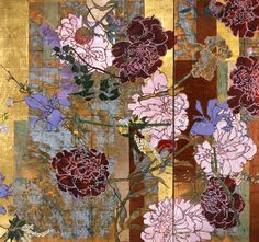 Kushner's paintings achieved their mature style in the late 1980s when the artist began to focus upon the theme of flowers. These paintings employed gold and other metal leaf, a fractured, almost cubist space, and a loose or free use of pattern that recalls the work of Matisse, who Kushner has cited as his single greatest influence. The works often take on a decorative, frieze-like format that recalls the art of Japanese screen painting: