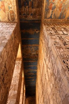 Medinet Habu is the Mortuary temple of Ramesses 111. The first pylon or entrance walls are covered in inscriptions and images, with symbols and scenes from pharonic life