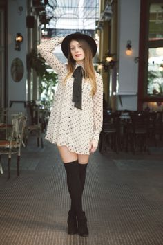 Dress with dots and bow