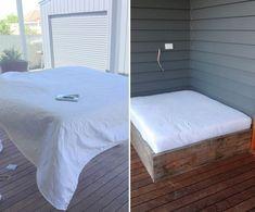 Cómo hacer una cama para tu jardín - cubrir el colchón con guata Mattress, Bed, Furniture, Home Decor, Bed Making, How To Make, Outdoor Daybed, Cover, Beds