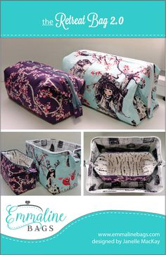 Emmaline Bags: Sewing Patterns and Purse Supplies: The Retreat Bag 2.0 - Now Available in 2 Sizes!! FREE Pattern.