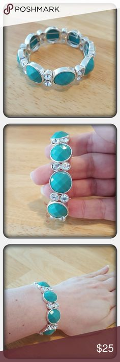 NWOT Woman's Blue Bracelet Brand New Woman's Bracelet With Turquoise Colored Stones And White Crystal Stone's. This Bracelet Is Pretty Sure To Complement Any Wardrobe Matching Earrings Listed Separately  PAYPAL  TRADES  LOWBALLING ❤ Napier Jewelry Bracelets #women'sbracelets
