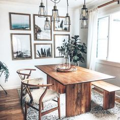 Boho Dining Room, Apartment Dining, Wood Dining Room, Dining Room Small, Dining Room Wall Decor, Solid Wood Dining Table, Wood Dining Bench, Rustic Dining Room, Wood Dining Room Table