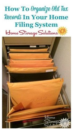 How to organize tax records and returns in your home filing system, plus tips on how long to keep tax records before you can declutter them on Home Storage Solutions 101 Clutter Solutions, Home Storage Solutions, Storage Ideas, Organizing Paperwork, Clutter Organization, Financial Organization, Home Office Storage, Home Office Organization, Office Decor