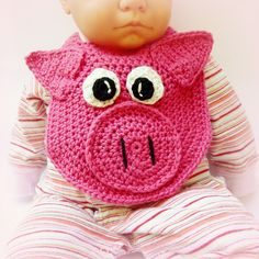 Ravelry: Lil' Oinker Drool Bib, spit burp Pig or Piglet crochet pattern by Darleen Hopkins Crochet Baby Bibs, Crochet Gifts, Crochet For Kids, Baby Knitting, Bib Pattern, Baby Pigs, Toddler Gifts, Crochet Projects, Crochet Patterns