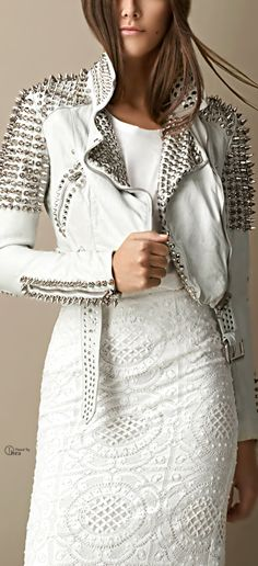 leather jacket outfit Handcrafted Women Silver Long Studded Genuine Leather Jacket Spiked Stud placed by Hand Belted Biker Brando Fashion Party White Leather Studded Jacket made w White Fashion, Look Fashion, Trendy Fashion, Womens Fashion, Fashion Trends, Sporty Fashion, Ski Fashion, Lolita Fashion, Ladies Fashion