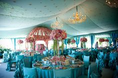 Raj Tents Frame Tent Lining in Dove Egg Gold star with Chandeliers