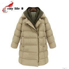 Мода улица 2015 зимние загущающие женщины пальто средней длины - Большой размер женский искусственного двух частей молния верхняя одежда