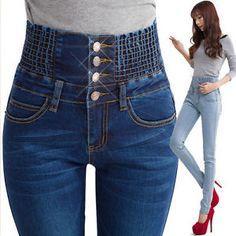 wholesale denim pants fashion women elastic high waist skinny stretch jeans female spring jeans feet pantalones plus size Jeans Denim, Jeans Fit, Jeans Style, Skinny Jeans, Skinny Waist, Slim Waist, Sexy Jeans, Trousers Women, Pants For Women