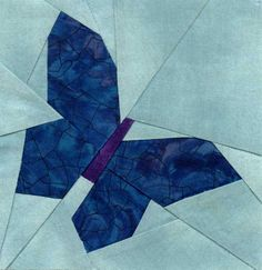 blue butterfly test pattern-I've done this one Paper Pieced Quilt Patterns, Quilt Block Patterns, Pattern Blocks, Pattern Paper, Quilt Blocks, Applique Quilts, Butterfly Quilt, Bird Quilt, Blue Butterfly