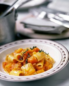 Pumpkin Thyme Rigatoni | Martha Stewart Living - Any shaped pasta, such as penne, farfalle, and fusilli, can substitute for the rigatoni.
