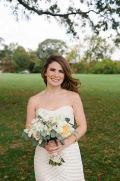 A-line gown by Anne Barge with neutral bouquet |