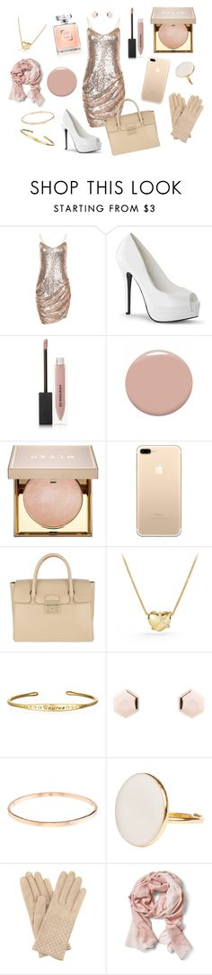 """Beige ✨"" by lara-fripon ❤ liked on Polyvore featuring Burberry, Christian Louboutin, Stila, Furla, David Yurman, Bottega Veneta and Banana Republic"