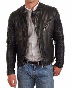 Real Leather Genuine Lambskin Men Jacket Motorcycle Slim Fit Stylish Biker BS20 #WesternOutfit #Motorcycle