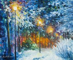 Winter Painting Beautiful Wall Art On Canvas By Leonid Afremov