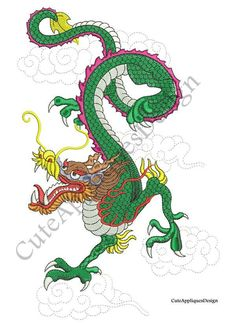 Chinese Dragon Embroidery Digital Design no 1147 by CuteAppliquesDesign on Etsy