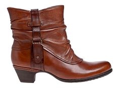 Wrap your feet in rouching and vinatge style with our Alexandra low-heel boots. Made of sumptuous leather with a burnished finish and antiqued buckle detail, they're the go-to boots that go with anything, from jeans to a skirt. $134.99