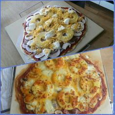 Homemade Hawaiian style pizza! Toppings were good, but we hv to improve the dough XP