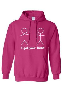 Men's/Unisex Pullover Hoodie Funny I Got Your Back Stick Figures, Size: XXXL, Pink
