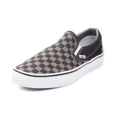 Vans Slip On Chex Skate Shoe - Gray Black - 497028 Skate Style 8ed8917ed