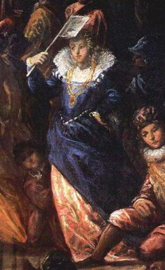 Andrea Michiel (Il Vicentino), 1574: Detail - Henry III Arriving at the Lido Venice, Palazzo Ducale. Notice her flag fan.
