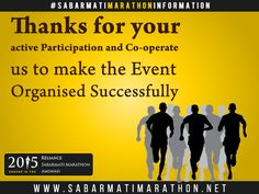 THANKS RUNNERS!!! Thanks for your active participation and Co-operate us to make the event organised successfully!!! ‪#‎RelianceSabarmatiMarathon‬ ‪#‎Marathon‬ ‪#‎GujaratMarathon‬ ‪#‎Ahmedabad‬ ‪#‎Sabarmati‬ ‪#‎SabarmatiMarathon‬ ‪#‎SabarmatiRiverFront‬