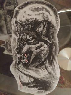 Werewolf Tattoo, Wolf Tattoos Men, Desenho Tattoo, Arte Disney, Ink Art, Tattoo Drawings, Tattos, Wolves, Sleeve Tattoos