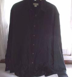 Tommy Bahama Black Silk Men's Shirt Long Sleeve Button Up Size Medium #TommyBahama #ButtonFront