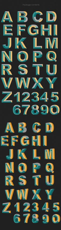 Vector alphabet retro beveled | hand lettering style inspiration | best fonts for hand lettering