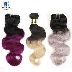 59.49$  Buy here - http://alibme.worldwells.pw/go.php?t=32541235850 - Tissage Peruvian Body Wave 3 Bundles T Color 1B Grey, 1B Purple, 1B 27 Honey Blonde Ombre Hair Bundles 2 tone Ombre Human Hair