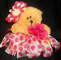 Pink Polka dot Tutu Bear by Passion4Expression on Etsy, $12.00
