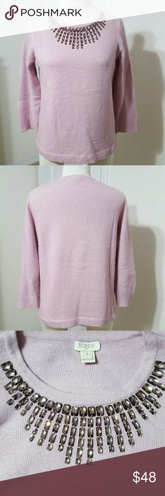 Embellished Starburst Sweater Viscose/Nylon/Merino Wool. Three-quarter sleeves. Hits at hip. In excellent condition. J. Crew Sweaters