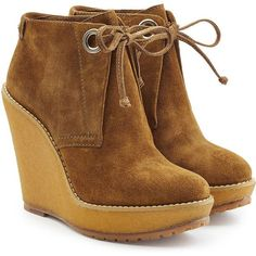 Burberry Suede Ankle Boot Wedges ($550) ❤ liked on Polyvore featuring shoes, boots, ankle booties, brown, laced up wedge booties, suede ankle boots, laced up ankle boots, lace-up bootie and lace up platform wedge bootie