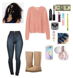 """""""Have to go back to school tomorrow ugh"""" by ahriraine ❤ liked on Polyvore featuring H&M, Vibrant, UGG, Bobbi Brown Cosmetics, Chapstick, Maybelline and Samsung"""