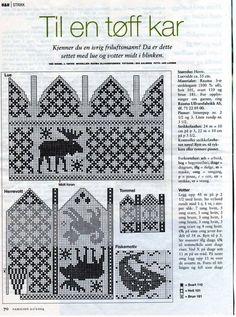 Knitting Patterns Mittens Knit Moose mittens and Hat charts Knitting Charts, Knitting Socks, Hand Knitting, Fair Isle Knitting, Knitting Patterns, Knitted Mittens Pattern, Crochet Mittens, Knit Or Crochet, Knitting Designs