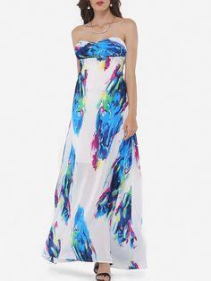 Printed Glamorous Tube Maxi-dress