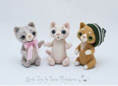 Needle felted kittens by Irina Polyakova #kitten #livelytoys #IrinaPolyakova #Irina_Polyakova #cute #needlefelting #cat #handcraft #handmade #art #toy #wool