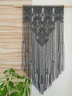NOTE: Grey Macrame Mural will be made just for you, and it requires days. Hand Made , NOTE: Grey Macrame Mural will be made just for you, and it requires days. NOTE: Grey Macrame Mural will be made just for you, and it require. Macrame Wall Hanging Patterns, Boho Wall Hanging, Macrame Art, Macrame Design, Macrame Projects, Macrame Knots, Macrame Patterns, Macrame Modern, Macrame Mirror