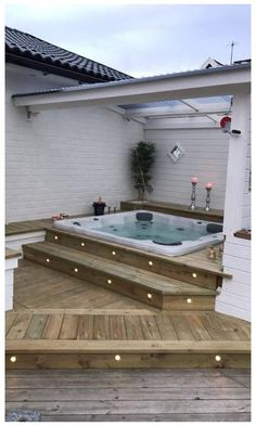 Patio Ideas to Beautify Your Home On a Budget Patio Ideas – Decorating yo. - Patio Ideas to Beautify Your Home On a Budget Patio Ideas – Decorating your patio can be dif - Budget Patio, Hot Tub Patio On A Budget, Jacuzzi Tub, Jacuzzi Outdoor Hot Tubs, Outdoor Tub, Hot Tub Deck, Outdoor Patios, Deck Jacuzzi Ideas, Outdoor Spaces