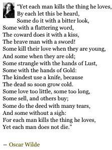 """...each man kills the thing he loves,..."" | Oscar Wilde"
