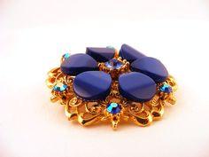 Thermoset Lucite Rhinestone Flower Brooch Gold Pin by TidBitz, $20.00